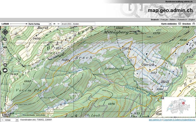 Alp Arsch; Printscreen von map.geo.admin.ch