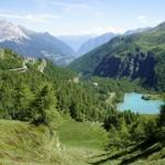 Tiefblick über den Lagh da Palü und die Alp Grüm ins Puschlav